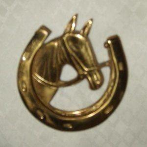 Brass Horse Door Knocker Horseshoe Vintage
